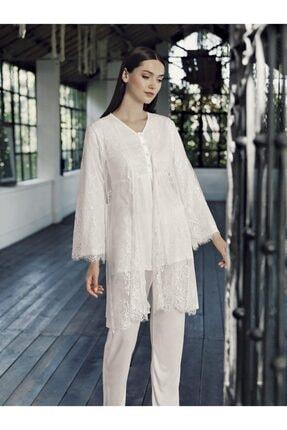 Artış 9303 Lezli 3lü Sabahlık Pijama Takım 21k