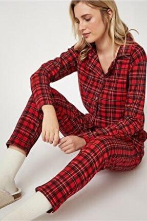Happiness Kadın Kırmızı Kareli Örme Pijama Takımı