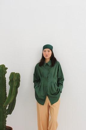 ALLDAY Kadın Yeşil  Pileli Oversize Gömlek Tunik