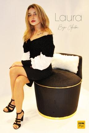 Zem Laura Berjer Siyah Gold Beyaz Peluş Sırt Yastığı