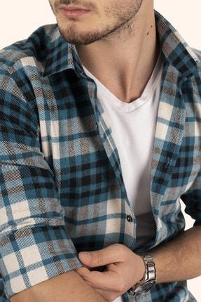 Etikmen Erkek Turkuaz Beyaz Çizgili Slimfit Oduncu Gömlek