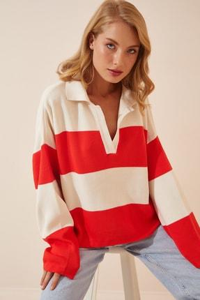 Happiness İst. Kadın Kırmızı Beyaz Polo Yaka Oversize Crop Triko Kazak  US00685
