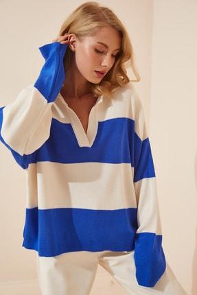Happiness İst. Kadın Mavi Kemik Polo Yaka Oversize Crop Triko Kazak  US00685