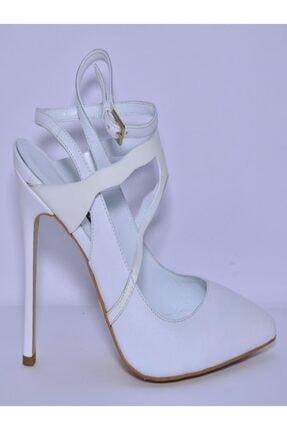 İnci Beyaz Deri Stiletto