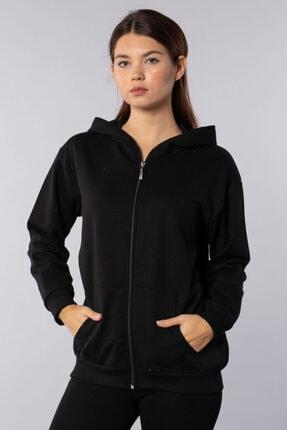 BARRELS AND OIL Oversize Kapüşonlu Fermuarlı Sweatshirt Siyah
