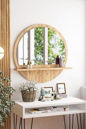 bluecape Yuvarlak Raflı Ayna 60cm Atlantik Çam Dresuar Hol Koridor Salon Banyo Wc Ofis Çocuk Yatak Odası Boy