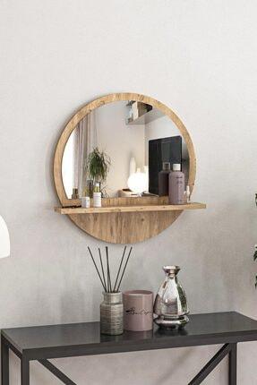 bluecape Yuvarlak Raflı Ayna 45cm Atlantik Çam Dresuar Hol Koridor Salon Banyo Wc Ofis Çocuk Yatak Odası Boy
