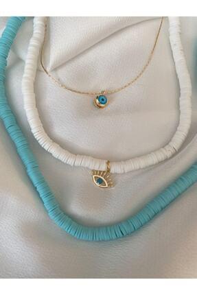 NÖRS DESİGN The Y Jewelry Altın Kaplama 3 'lü Nazar Ve Göz Kolye Seti , Fimo Boncuk