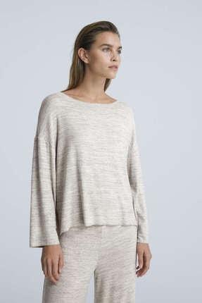 Oysho Comfort Feel Kayık Yaka Uzun Kollu Tişört