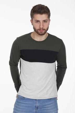 Newear Uzun Kollu Üç Renk Haki Erkek Sweatshirt