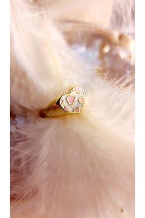 CEMRE 24k Altın Kaplama Beyaz Pembe Leopar Desen Ayarlanabilir Kalp Yüzük
