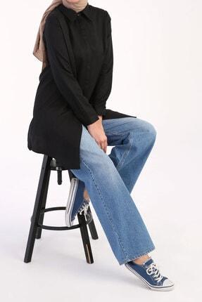 ALLDAY Siyah Basic Gizli Patlı Gömlek Tunik