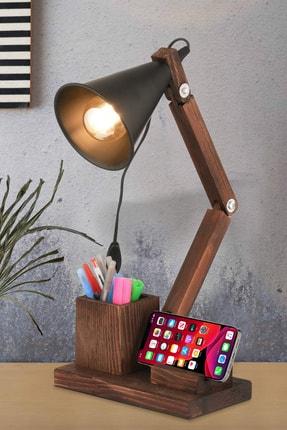 NisaLuce Lux Ahşap Masa Lambası Kalemlikli-ceviz