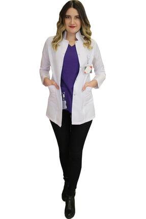 safaforma Hakim Yaka Kadın Kısa Boy - Uzun Kol Doktor Önlüğü , Öğretmen Önlüğü , Hastane Forması , Beyaz Önlük