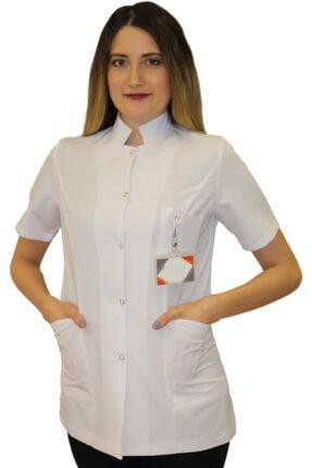 safaforma Hakim Yaka Kadın Kısa Boy - Kısa Kol Doktor Önlüğü , Öğretmen Önlüğü , Hastane Forması , Beyaz Önlük