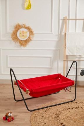 Svava Ahşap Bebek Hamak Beşik Portatif Hamak Beşik (Kırmızı)