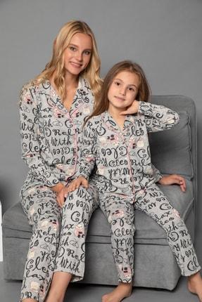 ELİTOL Desenli Pamuklu Likrali Anne-Kiz Düğmeli Pijama Takim