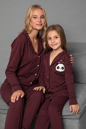 ELİTOL Mürdüm Pamuklu Likrali Anne-Kiz Düğmeli Pijama Takim