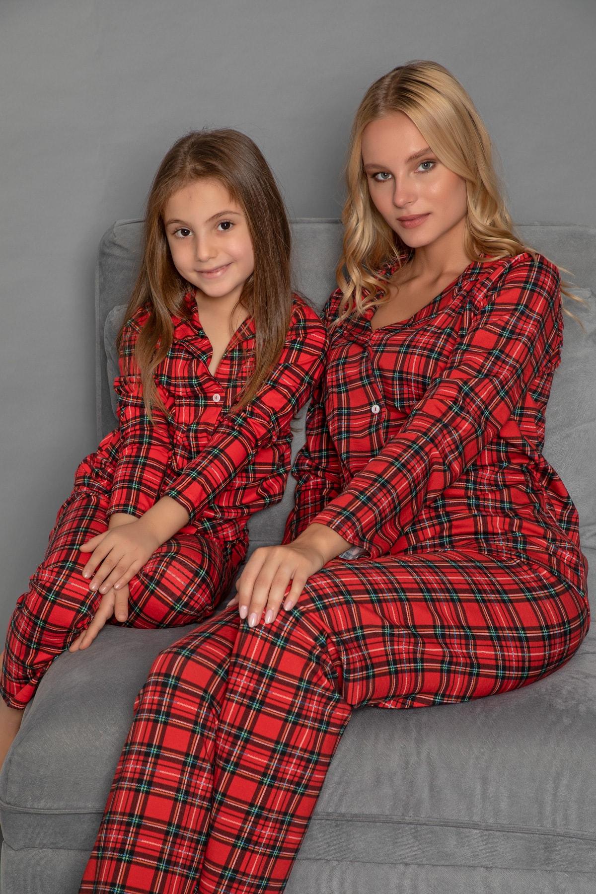 ELİTOL Kadın Desenli Pamuklu Likrali Düğmeli Pijama Takim 1
