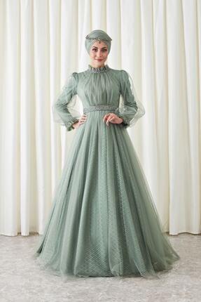 ANNAHAR TESETTÜR Kadın Yeşil Tül Kaplamalı Tesettür Abiye Elbise
