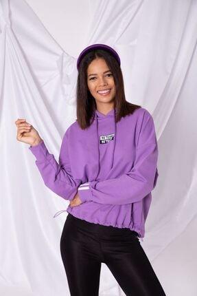 Zafoni Kadın  Mor Kol Ucu Şeritli Kapüşonlu Sweatshirt