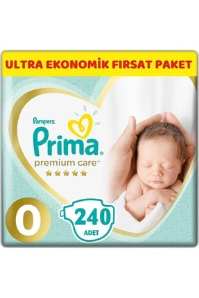 Prima Premium Care Bebek Bezi Beden:0 (1.5-2.5kg) Prematüre 240 Adet Ultra Ekonomik Fırsat Pk