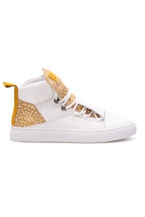 Pegia Kadın Sarı Beyaz Hakiki Deri Sneaker Ayakkabı  La1312