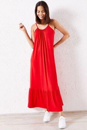 Zafoni Kadın Kırmızı Günlük Elbise