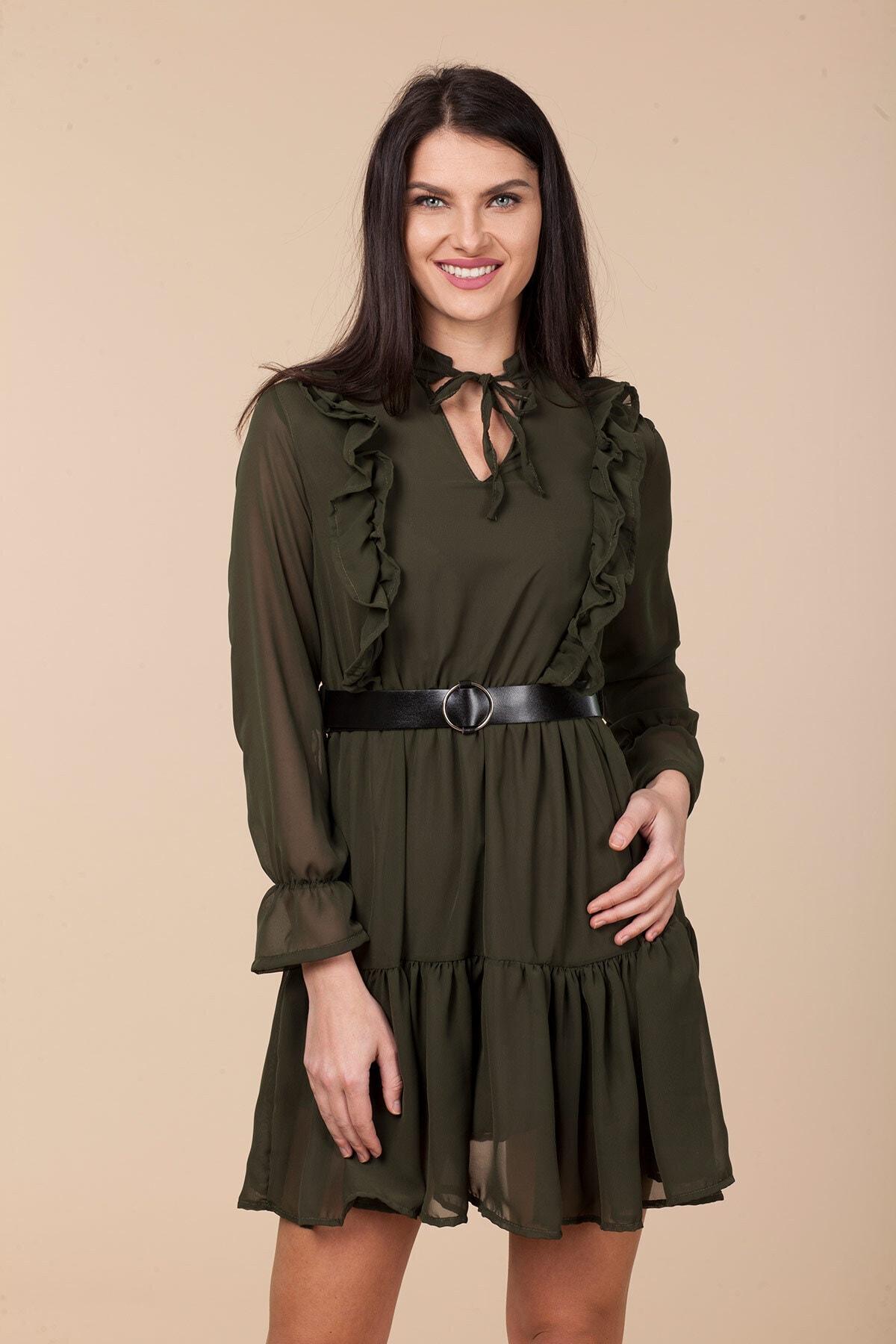 Mossta Kadın Haki Bel Lastikli Fırfırlı Elbise 1