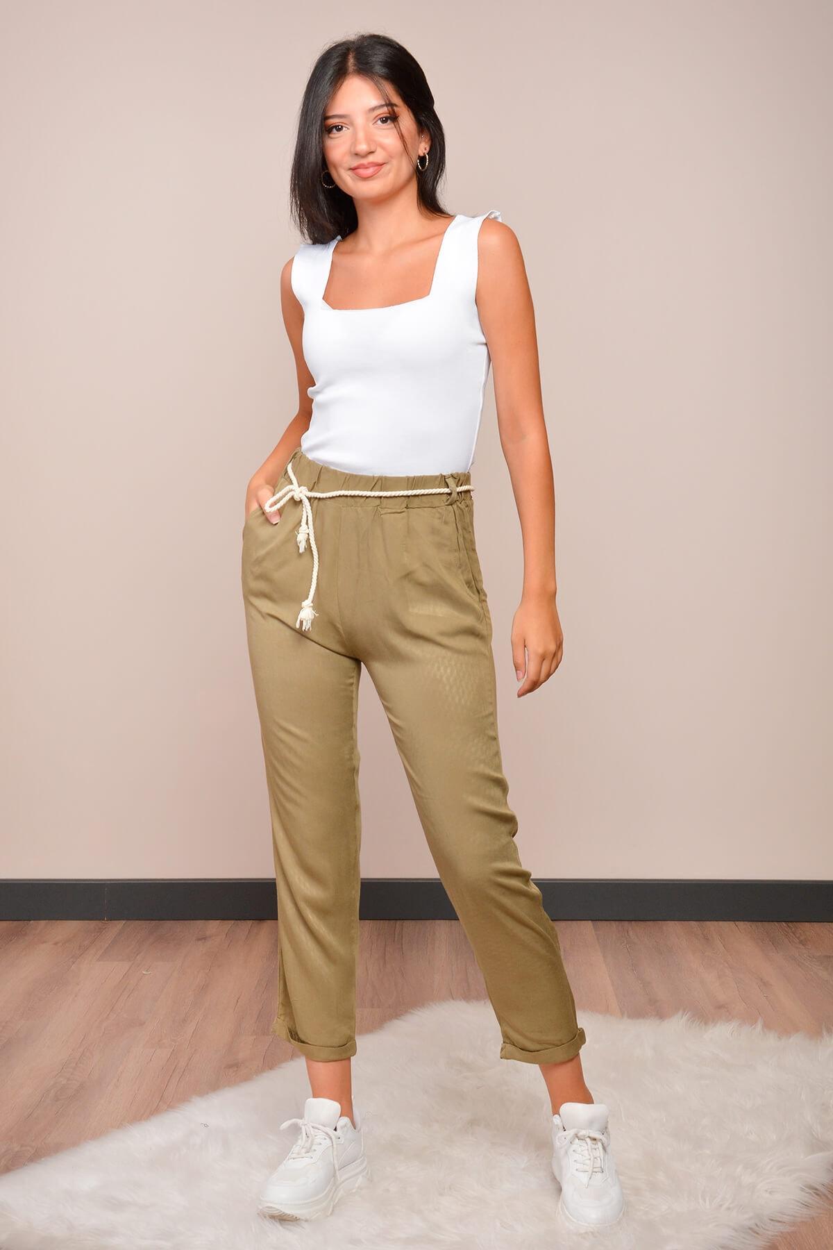 Mossta Kadın Haki Halat Kemerli Havuç Pantolon 1