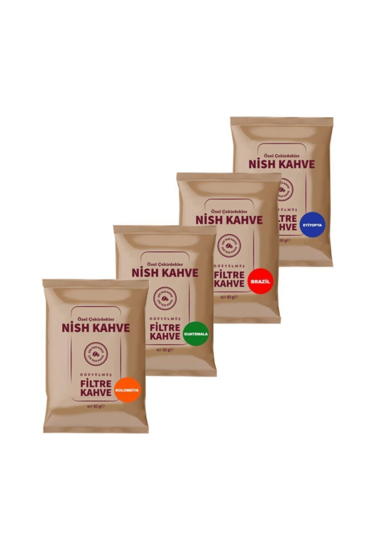 Nish Kahve Filtre Kahve Nish Brazil Colombia Guatemala Etiyopya 80 Gr 4'lü Paket 2