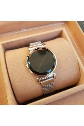 Gold Time Bileklik Hediyeli Dokunmatik Ekran Mıknatıslı Gümüş Renk Taşlı Kadın Saati