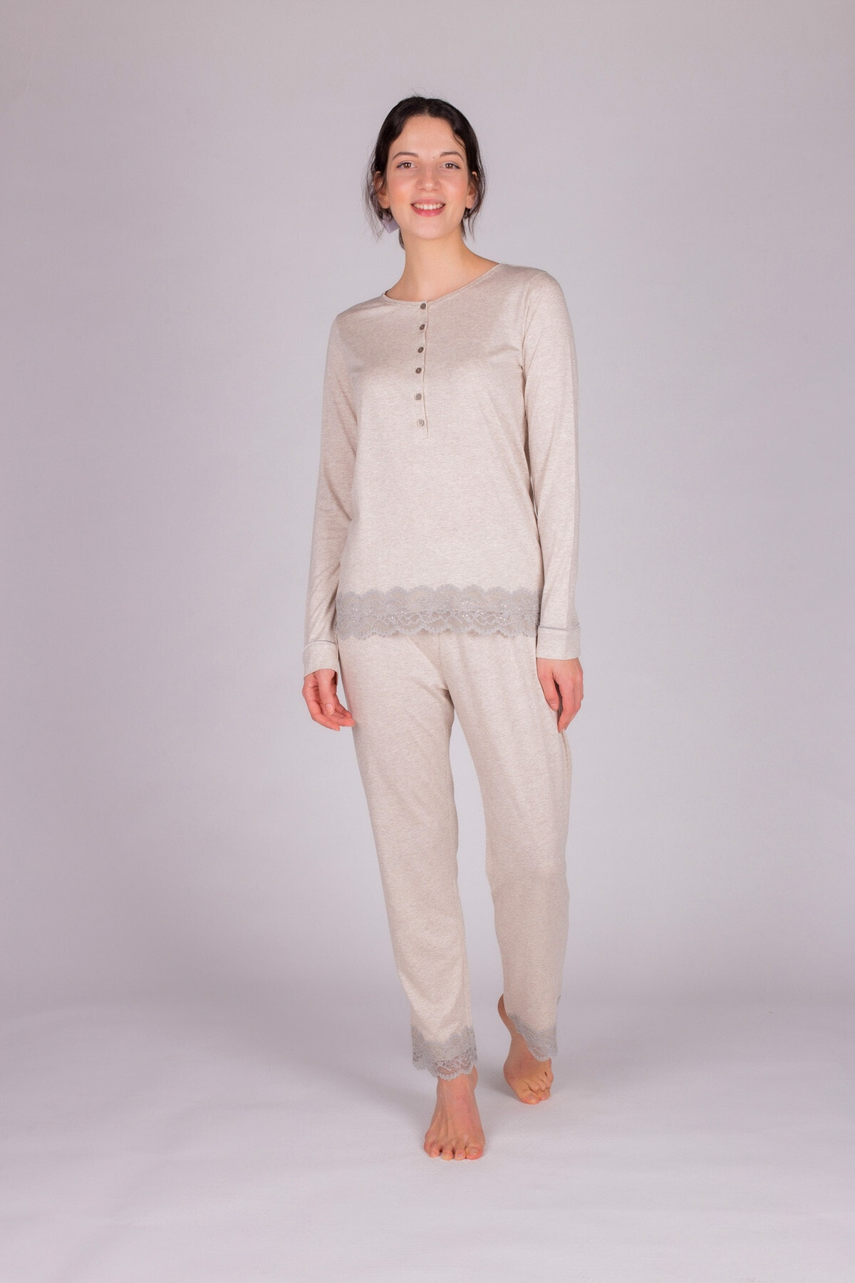 Hays Kadın Bej Melanj Modal Dantel Detaylı Pijama Takımı 2