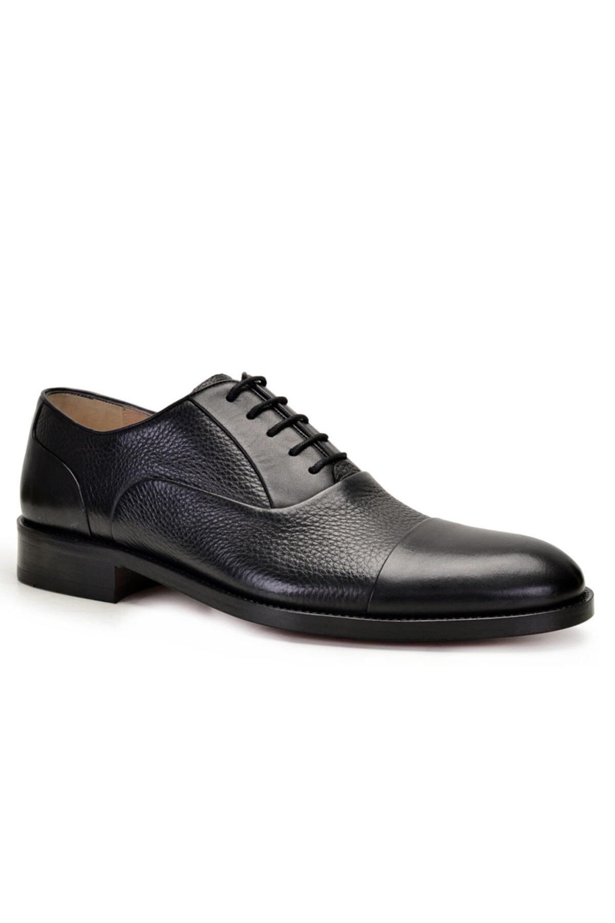 Nevzat Onay Erkek Siyah Hakiki Deri Klasik Bağcıklı Kösele Ayakkabı -9131- 2