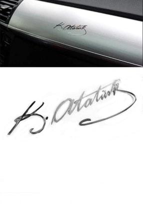 Automix Atatürk Imazsı Oto Sticker Alüminyum Kaplama 3d Atatürk Imza Metalize