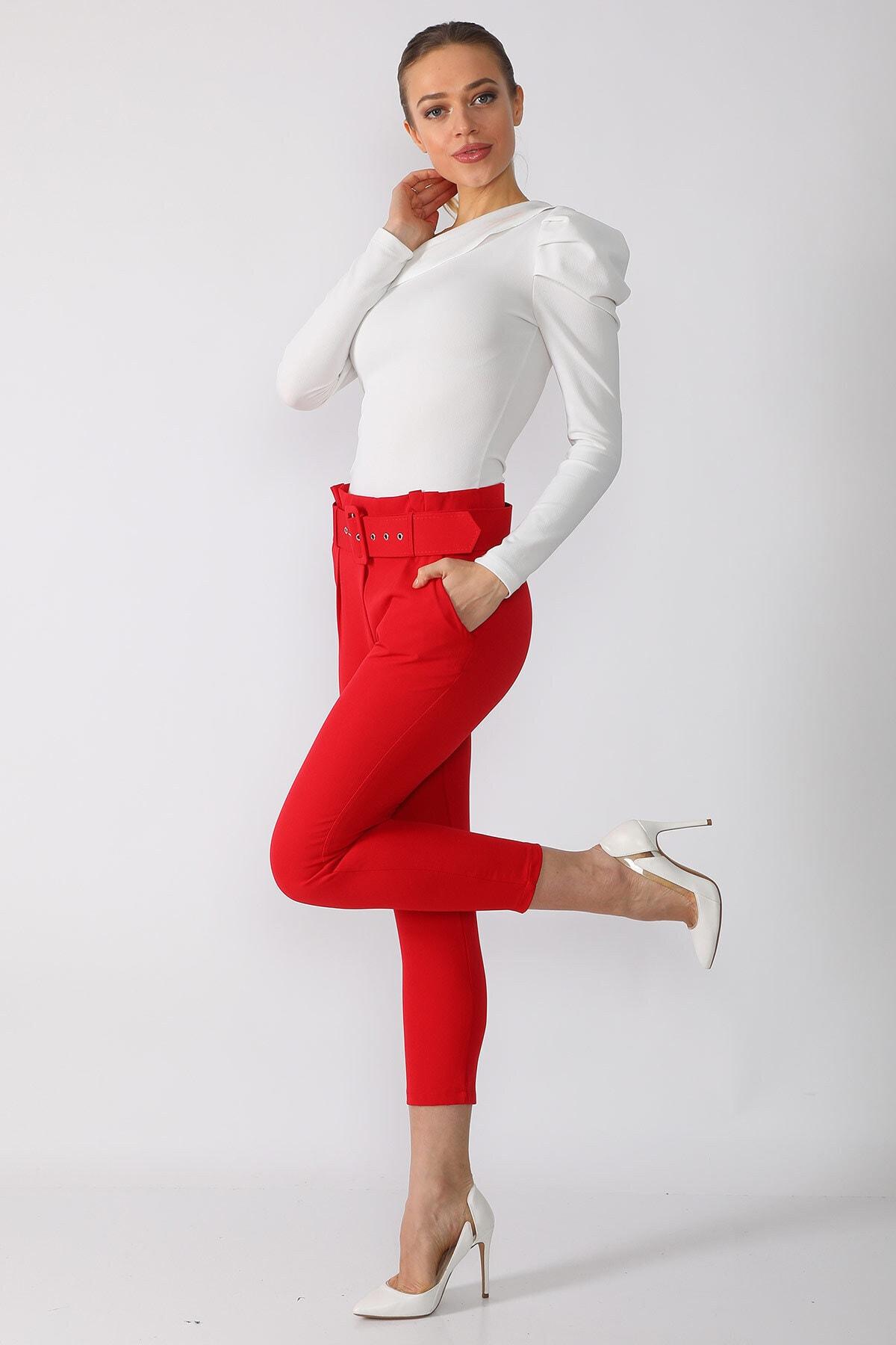 Mossta Kadın Kırmızı  Kemerli Kumaş Pantolon 1