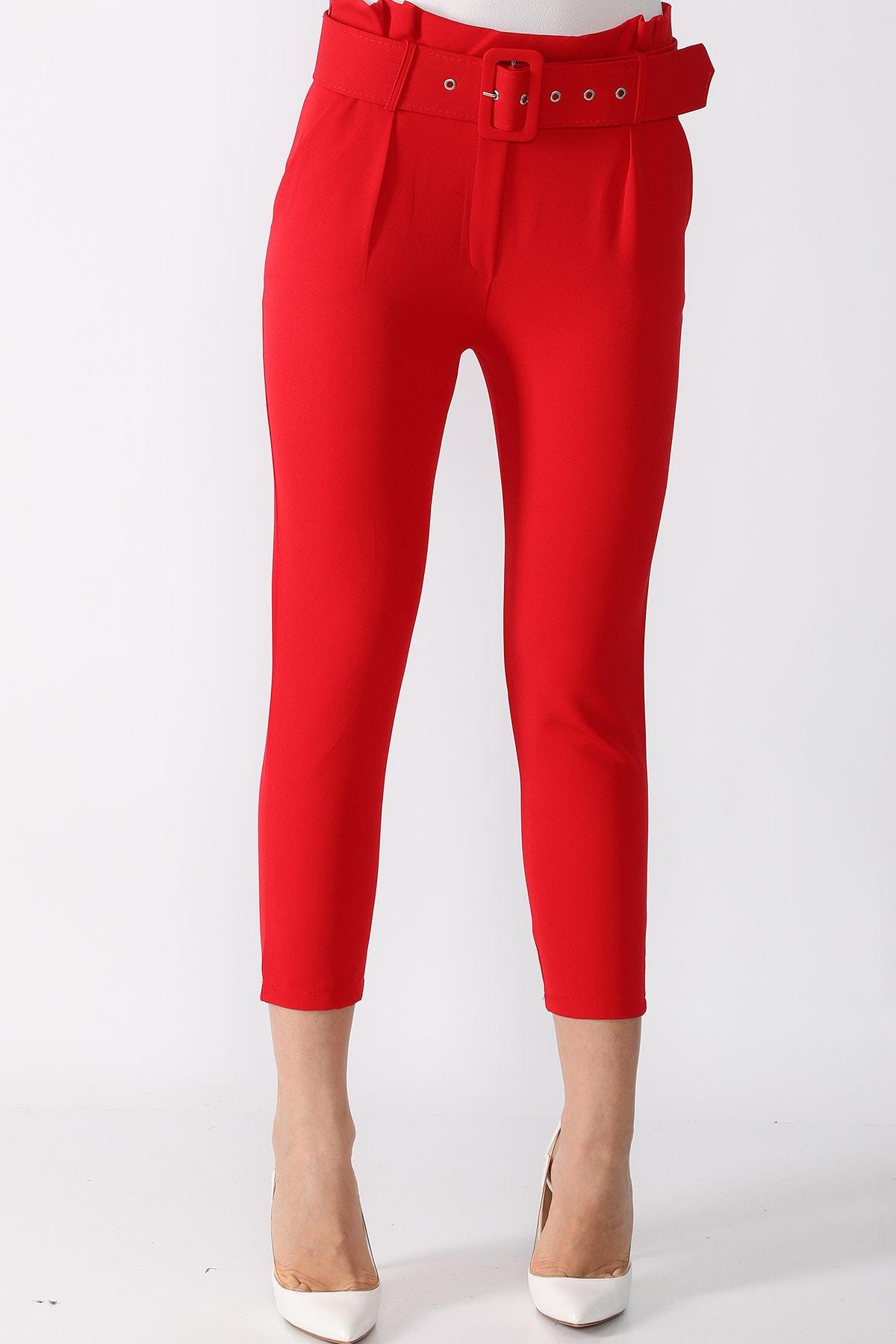 Mossta Kadın Kırmızı  Kemerli Kumaş Pantolon 2