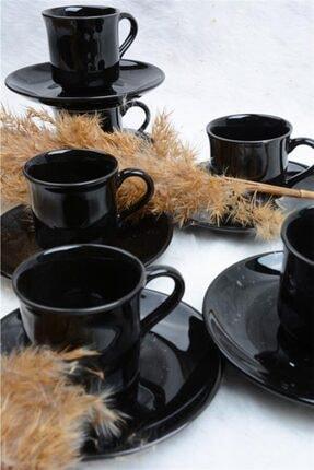 ACAR Sema 6 Kişilik Porselen Kahve Fincan Takımı Siyah 16916