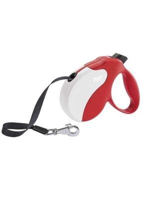 Ferplast Amigo L 5 Mt Şerit Kırmızı-beyaz Otomatik Köpek Gezdirme Tasması
