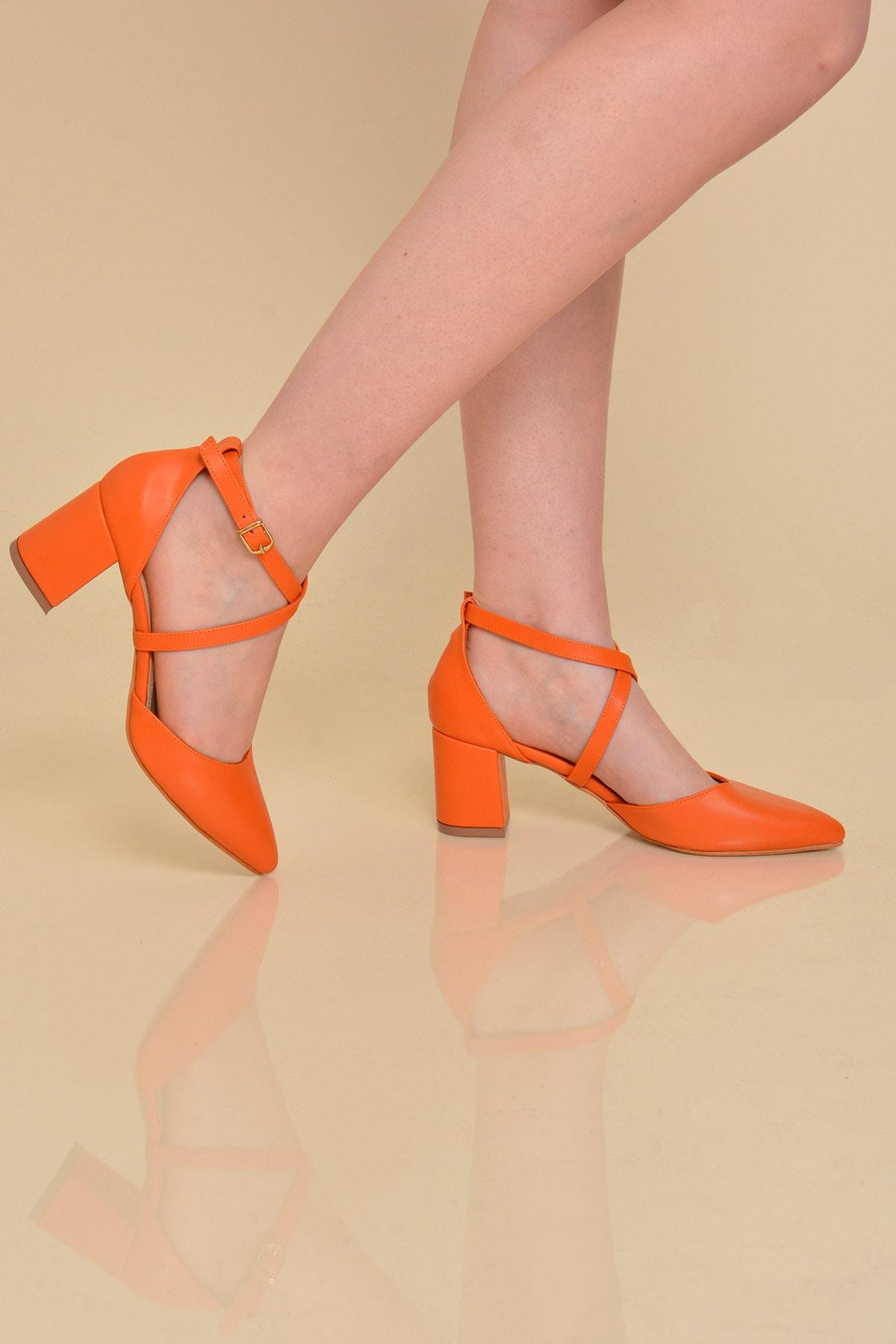 Mossta Kadın Turuncu Topuklu Sandalet 1
