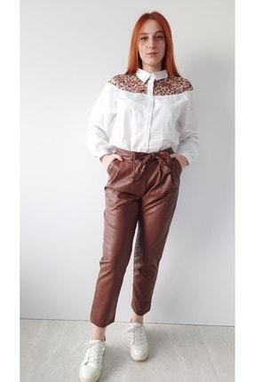 BEBE PLUS Kadın Beyaz Leopar Detaylı Gömlek