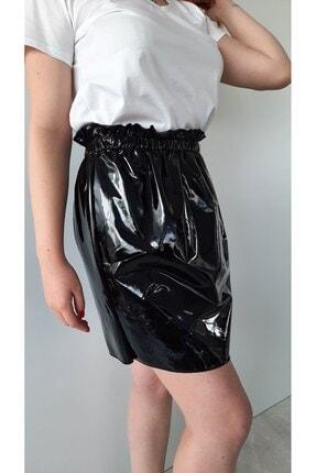 BEBE PLUS Kadın Siyah Rugan Beli Lastikli Mini Etek
