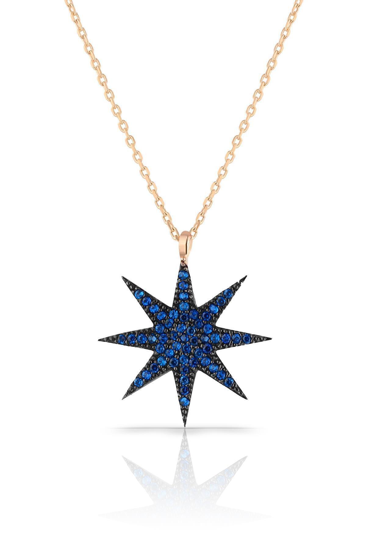 Azuris Silver Kadın 925 Ayar Gümüş Mavi Taşlı Yıldız Kolye ALK1720 1