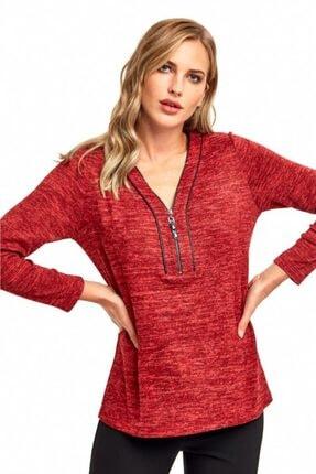 İKİLER Kadın Kırmızı Yakası Metal Fermuarlı Uzun Kol Bluz