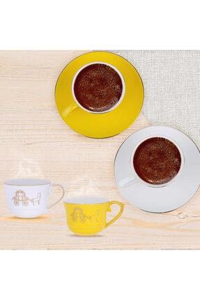Lucky Art 6lı June Bone Serisi Sarı Beyaz Kahve Fincan Set