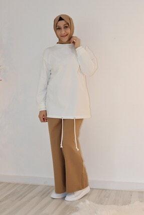 Loreen Kadın Kahverengi Geniş Paçalı Bel Lastikli Pantolon
