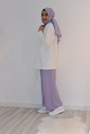 Loreen Kadın Lila Geniş Paçalı Bel Lastikli Pantolon