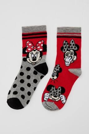 DeFacto Kız Çocuk Gri Mickey Mouse Lisanslı 2'li Soket Çorap