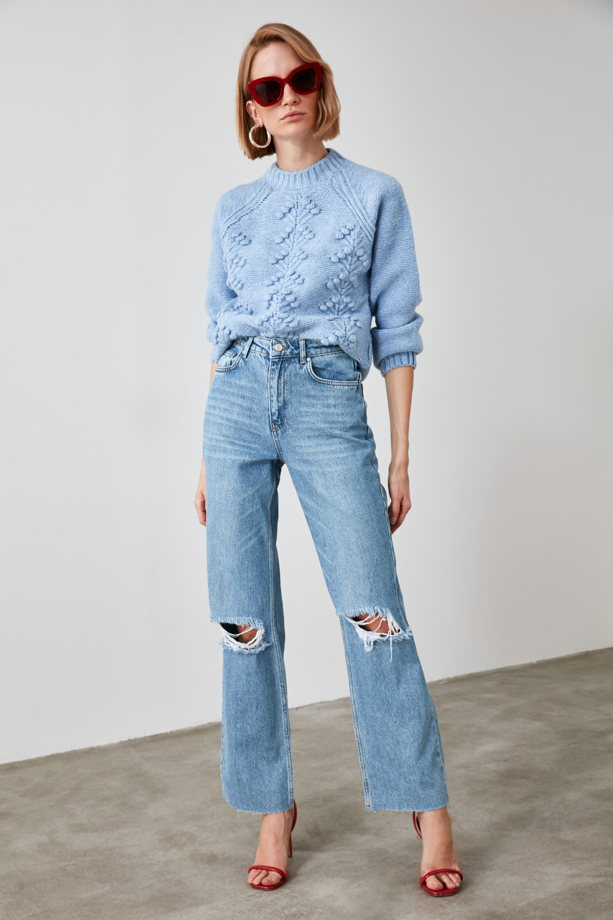 TRENDYOLMİLLA Mavi Yırtık Detaylı Yüksek Bel Wide Leg Jeans TWOAW21JE0539 2