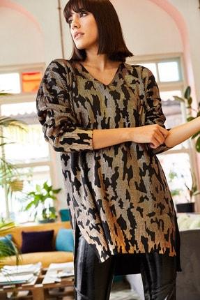 Olalook Kadın Bakır Leopar Yanı Yırtmaçlı Varaklı Triko Tunik TNK-19000068